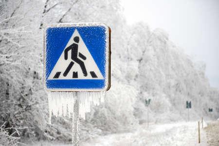 pedestrian: pedestrian sing on winter Stock Photo