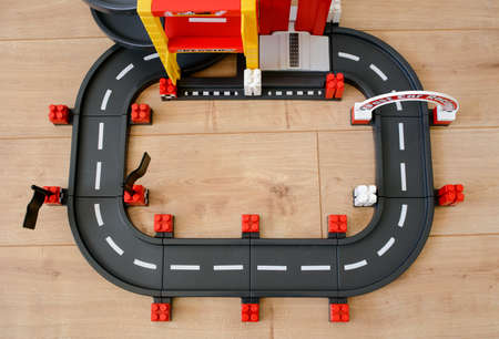 route of cubes of different colors for sports car races, toy for children