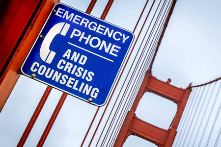 samaritans: Crisis Counselling Sign, Golden Gate Bridge, San Francisco, USA
