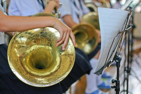french horn: A junior hight school girl holding a french horn at band practice© daniel herbertson