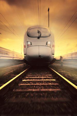 pociąg: szybko poruszających się pociągów Zdjęcie Seryjne
