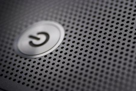 power button from a silver laptop Archivio Fotografico