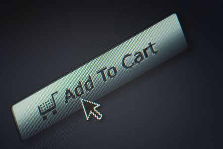 Close-up of a interface computer search button and an arrow mouse cursor Stock Photo - 5229282