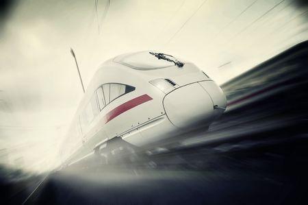 fast moving passenger train Archivio Fotografico