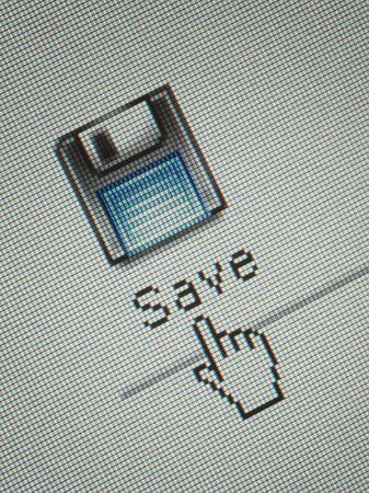 curseur souris: Close-up d'une interface pour ordinateur bouton d'enregistrement et un curseur de la souris