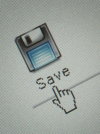 save button: Close-up of an interface computer save button and a hand mouse cursor