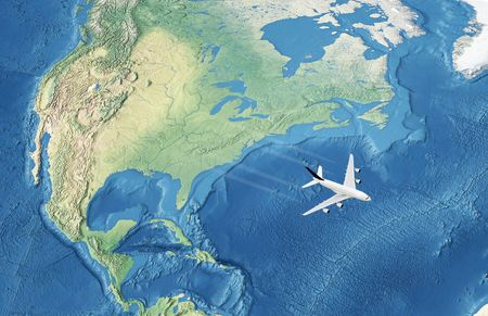 White Civil Airplane over the Atlantic ocean flying to Europe  photo