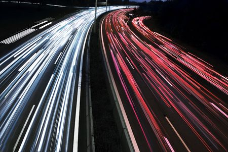long time exposure of traffic car lights in the motorway  photo
