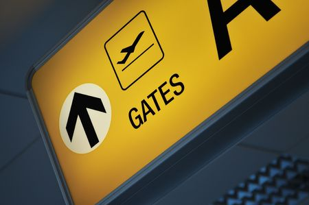 Close up of an airport gate sign   Stok Fotoğraf