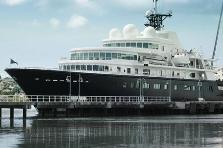 Large luxury yacht anchored in Antigua,caribbean islands photo