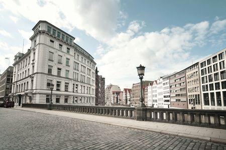 street view from a bridge in Hamburg, Germany