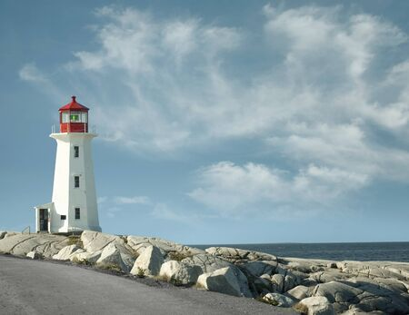 Panoramic view of Peggy`s Cove lighthouse in Canada