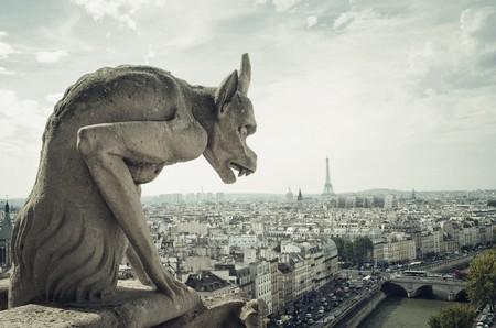 gargouille: Panoramique de Paris wit Gargouille architectural fragment de premier plan, pr�lev� sur le toit de la Cath�drale Notre Dame
