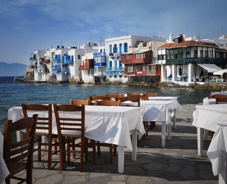 Panoramic view from the shore of Mykonos, Greece