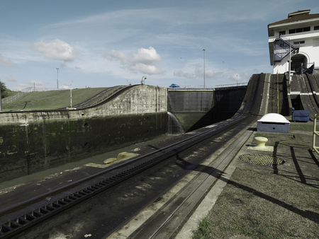 miraflores: Miraflores Locks at Panama Canal, Panama Stock Photo