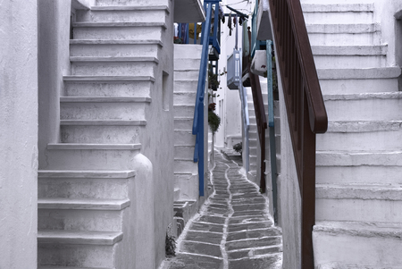 whitewashed: Beautiful whitewashed street in the old town of Mykonos, Greece