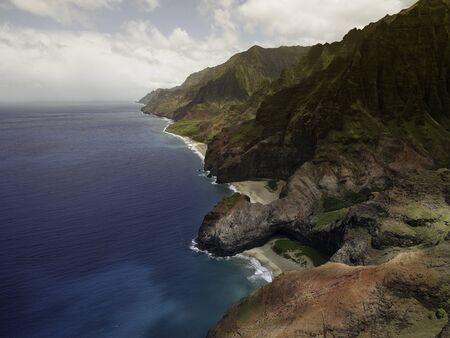 Aerial View on Na Pali Coast on Kauai island on Hawaii photo