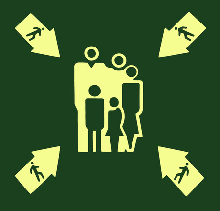 Yellow assembly point sign on green background