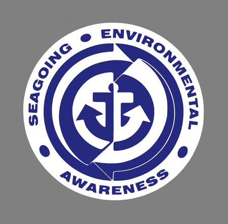 environmental awareness: Blue Seagoing Environmental Awareness sign over grey