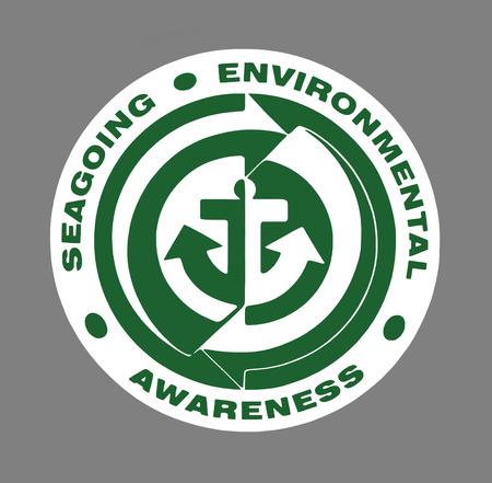 environmental awareness: Green Seagoing Environmental Awareness sign over grey