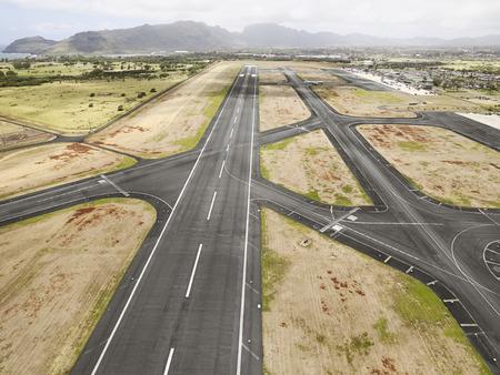 HIlo International Airport Runway, Hawaii Archivio Fotografico