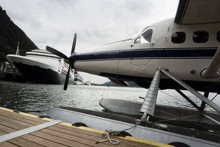 pier: Seaplane and cruise ships docked along the pier in Juneau, Alaska
