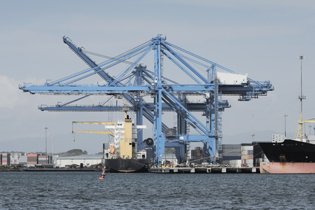 water transportation: Large harbor cranes at the commercial dock in Panama city