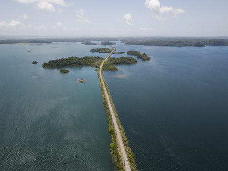 panama city beach: Aerial view of Panama Canal on the Atlantic side