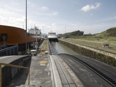 miraflores: A Cargo ship and a Cruise ship at Miraflores Locks, Panama Canal, Panama