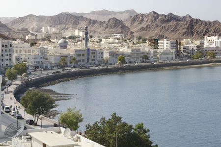 View of the Muscats old town, Muttrah, Oman Stok Fotoğraf