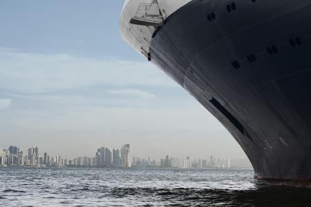 panama city beach: Panama city skyline. Large cruise ship entering panama city.