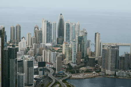 panama city: Aerial view of Panama City