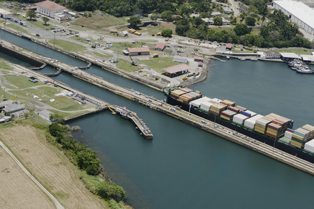 miraflores: large cargo ship exiting Gatun Locks, Panama Canal Stock Photo