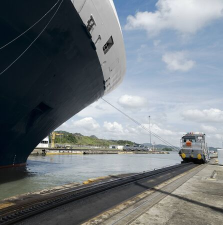 exiting: Cruise ship exiting Pedro Miguel Locks, Panama Canal Stock Photo