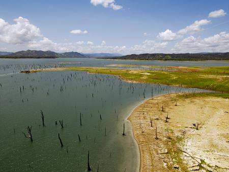 panama city beach: Aerial view of Gatun Lake, Panama Canal on the Atlantic side