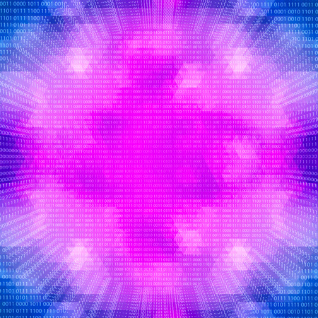 quantum: Science concept: Purple glowing quantum processor on a binary code background