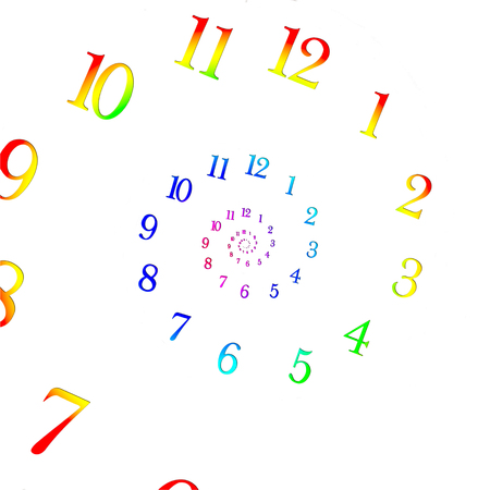 quantum: Rainbow coloured dial shrinking to infinity. Time Warp - Time Dilation. Quantum mechanics meets general relativity.