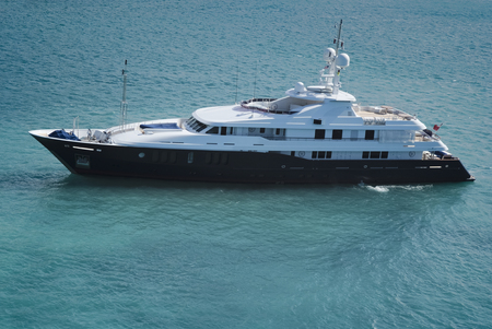 super yacht: Huge luxury yacht in the waters of St. Thomas, US Virgin Islands Stock Photo