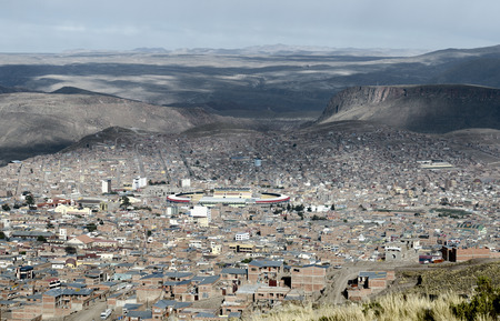 andes mountain: Panoramic view of Potosi (UNESCO) surrounded by the Andes Mountain in Bolivia - one of the highest cities in the world (4070m). Stock Photo