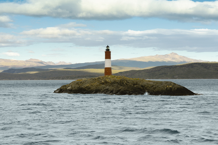 tierra del fuego: Les Eclavireurs Lighthouse, Beagle Channel, Tierra del Fuego, southern Argentina Stock Photo