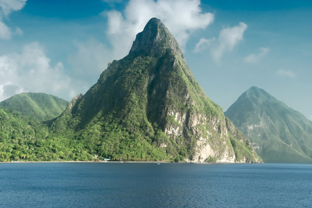 View of the famous Piton mountains in St Lucia