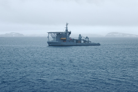 profundity: Brazilian Navys Submarine Rescue Vessel near Maxwell Bay, King George Island, Antarctica