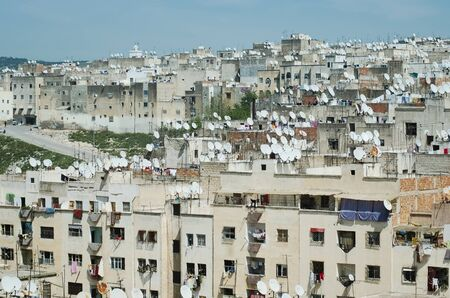 sattelite: Sattelite dishes on rooftops of houses in old town of Fes El Bali, Old Medina Stock Photo