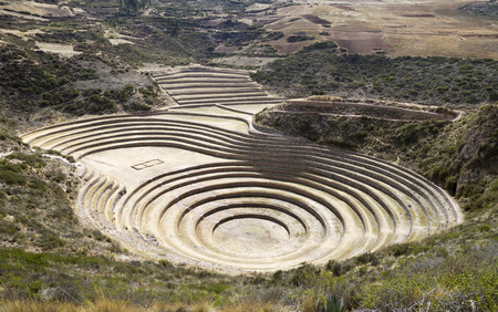sacred valley of the incas: Moray ancient circular terraces. Inca Experimental Agriculture Station at Moray, Peru. Stock Photo