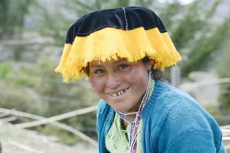 quechua: Portrait of a Quechua Indian woman from the Paru Paru Community, Andes Mountain, Peru