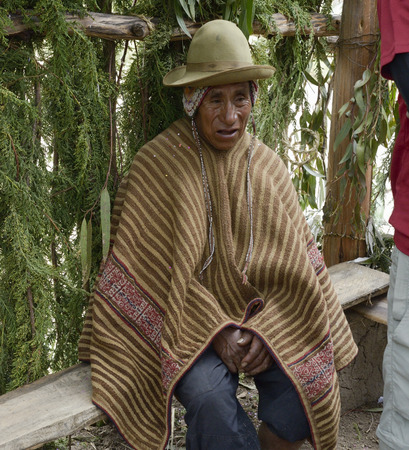 andes mountain: Portrait of a Native Peruvian man wearing typical andin robe and attending traditional Inca wedding ceremony in the Amaru indigenous community, Andes Mountain, Peru