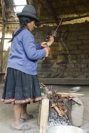 cavie: donna nativa peruviana preparare cavie sul fuoco. Le cavie sono piatto speciale in Perù, preparati per matrimoni e cerimonie religiose. 22 Ottobre 2012