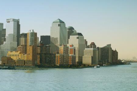 hudson: New York skyline. New York City with Manhattan Skyline over Hudson River. Stock Photo