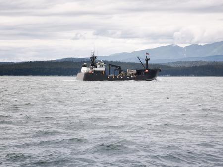 trawler net: Commercial crab fishing vessel near Juneau, Alaska Stock Photo