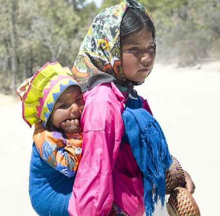Portrait of young Tarahumara native girls. April 28, 2011 - Creel, Chihuahua, Mexico